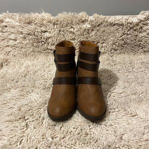Rampage Brown Buckle Ankle Boots SZ 6.5